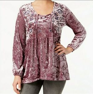 Style & Co.| Crushed Velvet Peasant Tunic Top